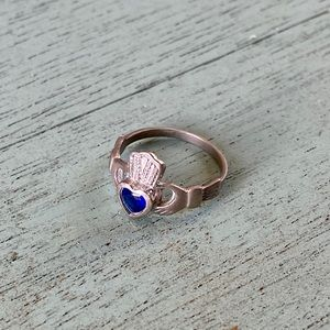 Vintage Claddagh Ring Sterling Silver Sapphire 925